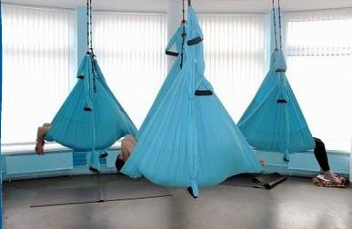 Йога-гамак подвесной голубой антигравити с ручками ECO в закрытом помещении, Россия