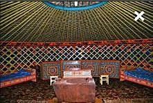 Казахская десятиканатная юрта вид внутри
