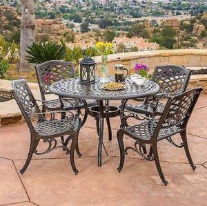 Бронзовый комплект Outdoor Patio Furniture с четырьмя стульями и столом из аллюминия
