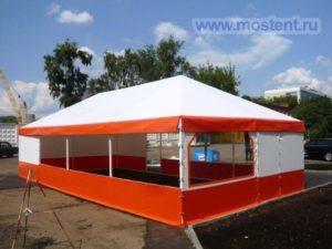Бело-оранжевый летний шатер павильон МОСТЕНТ Оптимас четырехскатной крышей 3 Х 6 Мвид спереди