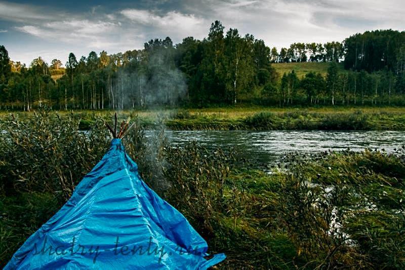 Летняя легкая мобильная баня палатка типа чум, с небольшой печкой своими руками