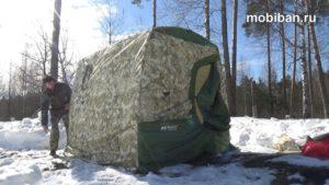Камуфляжная мобильная баня «Мобиба МБ-22 М» в зимнем лесу