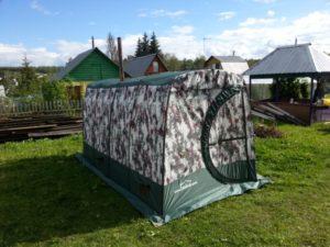 "Мобильная баня – палатка «Терма 3» на дачном дворе цвета ""Хаки"""