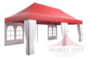 Красно-белый мобильный шатёр Prof 4х8 М MOBILETENT вид спереди