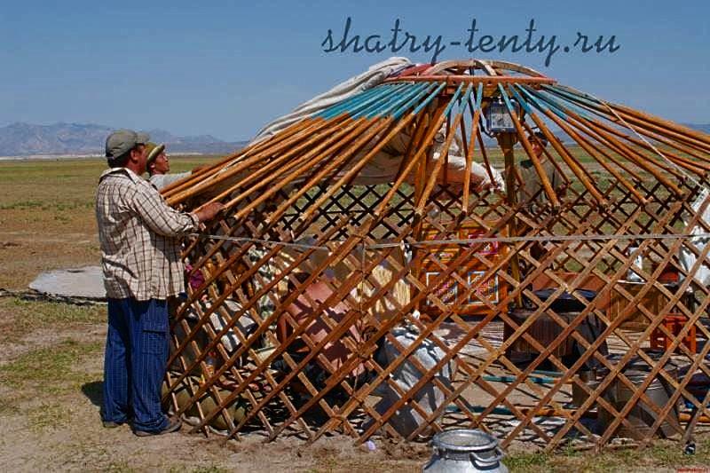 Установка войлочного тента на монгольскую юрту или гэр