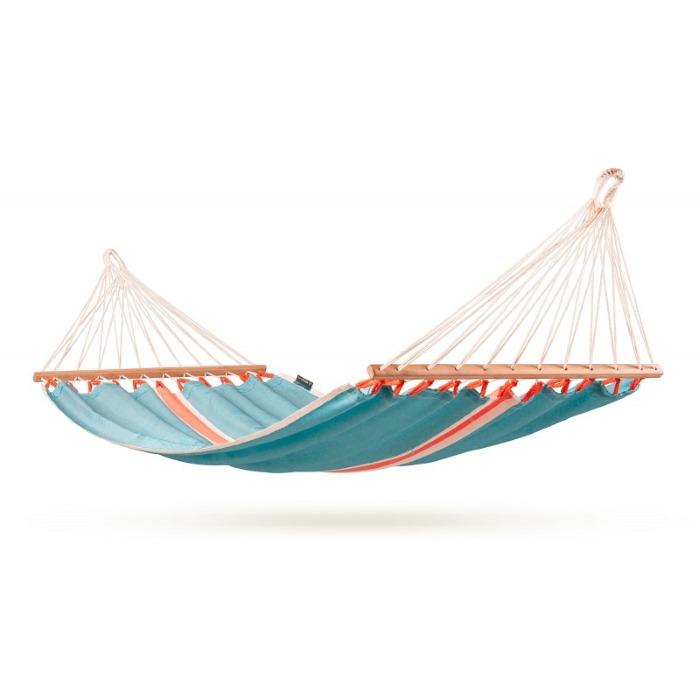 Подвесной бирюзовый с деревянными планками гамак FRUTA CURA