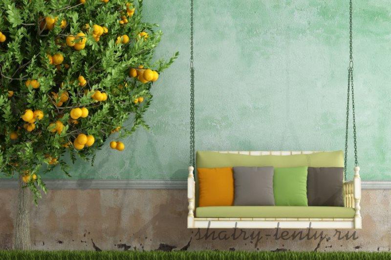 Подвесные бескаркасные дачные (садовые) качели на цепях