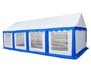 Бело-синий садовый тент-шатер МИТЕК Гросс 8 Х 4 М с прозрачными окнами