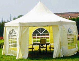 Белый шатер павильон беседка Green Glade 1053 шестиугольный 2x2x2 М с арочными окнами