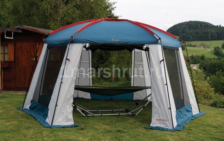Большой шестиугольный шатер с москитной сеткой Canadian Camper Summer House 4 Х 5 м в парке