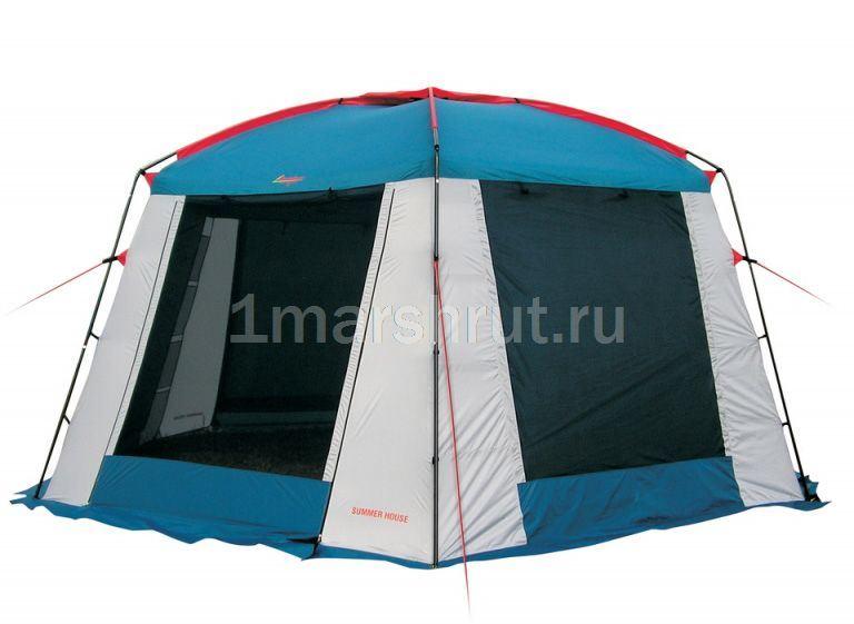 Шатер бело синий шестиугольный с москитной сеткой Canadian Camper Summer House 4 Х 5 м, Китай