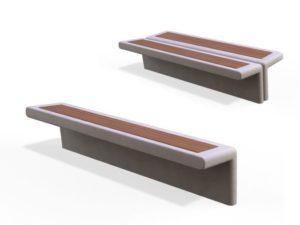 Бетонная скамейка с деревянным сиденьем Авив дабл Аданат, Россия