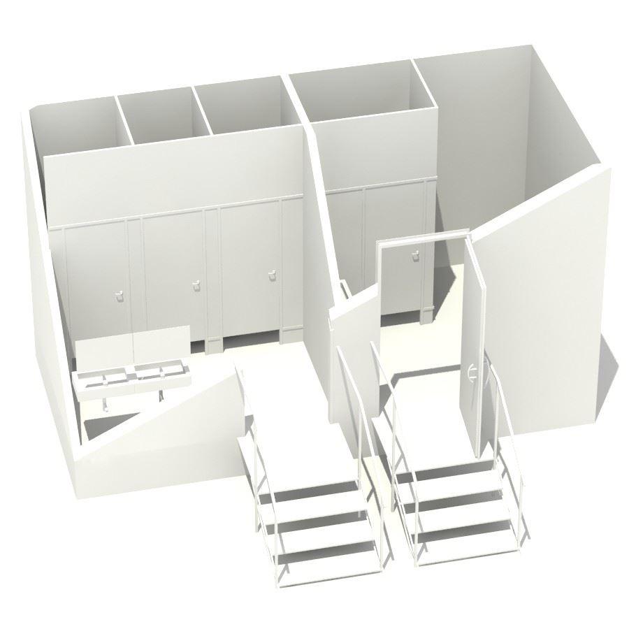 Модель семиместного передвижного туалетного модуля VIP класса BIG VIP