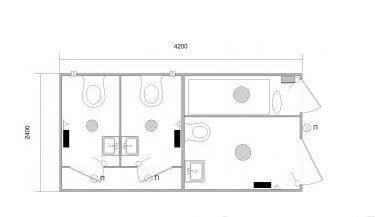 План-схема стационарного туалетный модуль МТА-3И