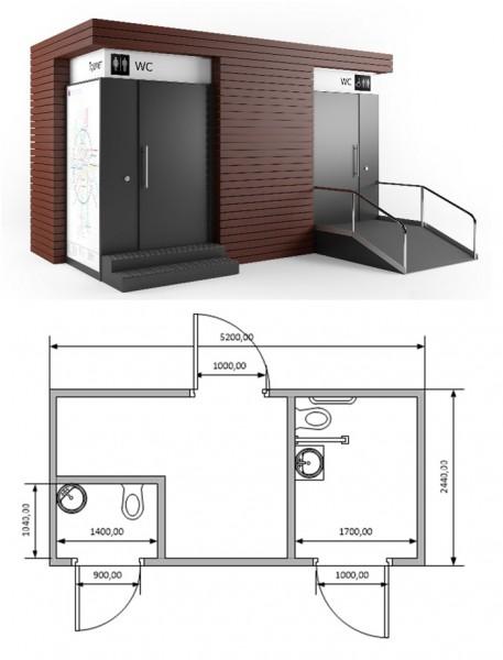 Туалетный модуль из нержавеющей стали ТМ02и13 CITYWC с план-схемой, Россия