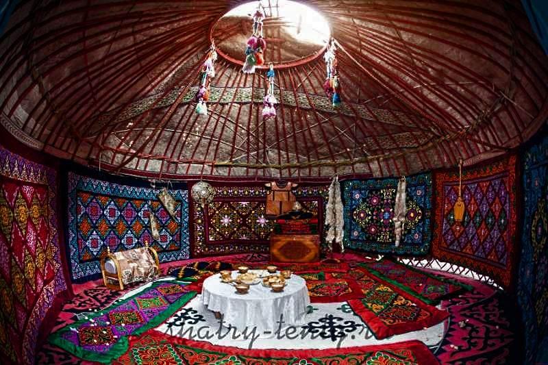 Тюркская модель юрты украшенная коврами, вид изнутри
