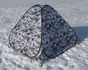 Автоматическая 3-х местная палатка из оксфорда цвета хаки на снегу