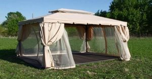 Бежевая беседка тент-шатер Kvimol KM-0209 3 Х 4 М из алюминия