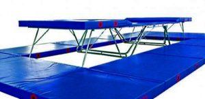 Синий батут «Eurotramp Ultimate 4x4» cо страховочными столами