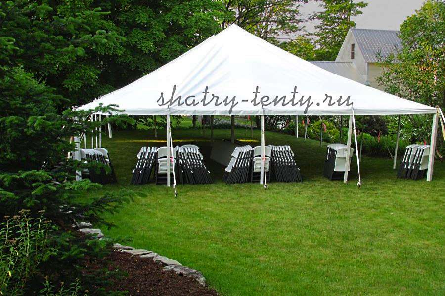 Открытый тип шатрово-каркасной конструкции в саду