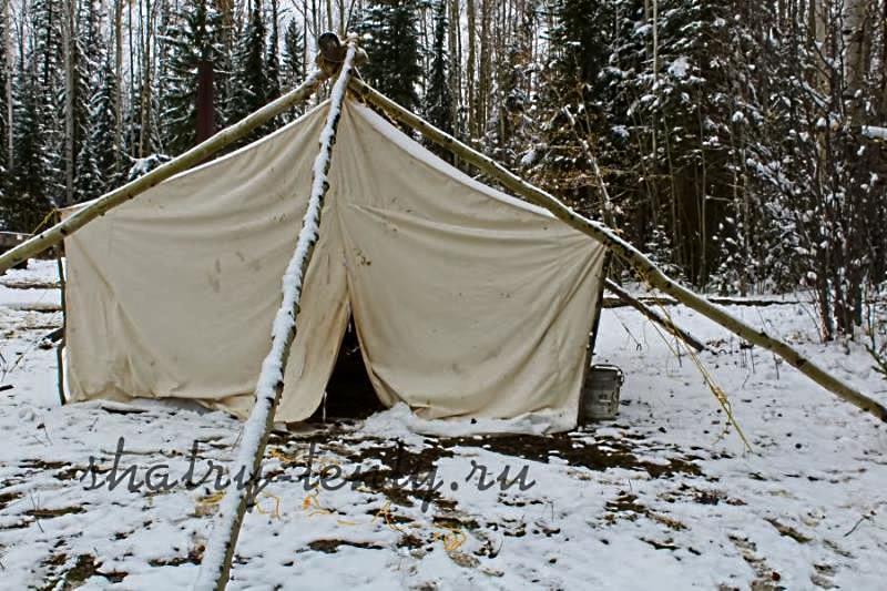 """Палатка из текстиля с названием """"палатка"""" в зимнем лесу"""