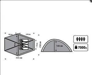 «ПАЛАТКА ТРЕКИНГОВАЯ TRAMP» (Nylon)схема с размерами