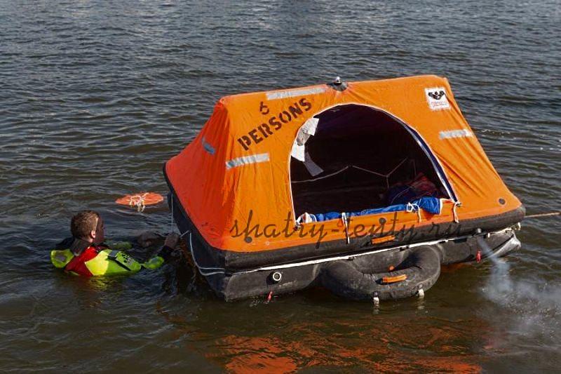 Плавающая спасательная палатка, состоящая из надувной платформы и палатки