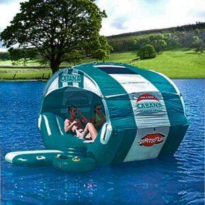 Зеленый полусферический плот-шезлонг с надувным тентом «Cabana» вместимостью до 6 человек