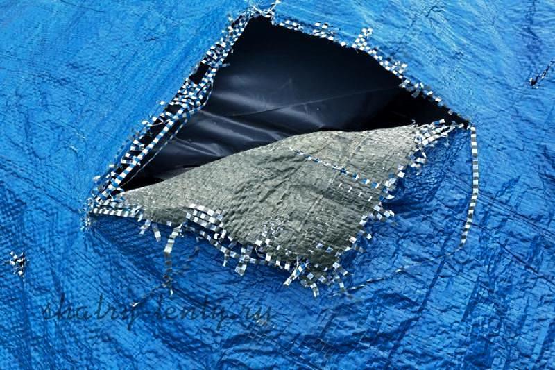 Разрыв ткани тента или палатки