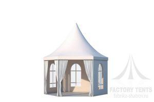 Белый шестигранный шатер Стандарт ФАБРИКА ШАТРОВ ДИАМЕТР 6 М