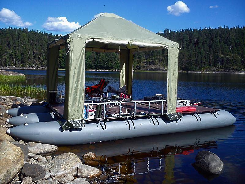 Плавдача тримаран с шатром 3*3 м компании Митек