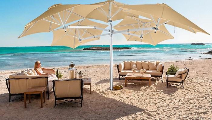 Пятикупольный квадратный зонт 5,4х5.4 м «Multiflex Paraflex» на пляже