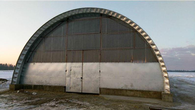 Ангар из оцинкованной стали 10х35м, компания Полусфера, Россия