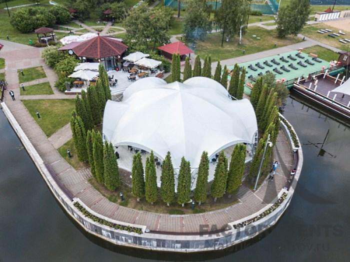 Арочный гексагональный шатер-ресторан на 150 гостей
