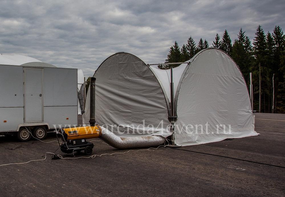Арочный шатер 5х5 с белыми стенками отапливаемый дизельной тепловой пушкой