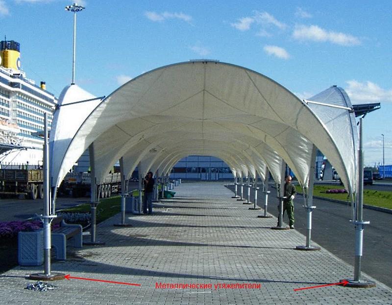 арочный шатер 5х5 с металлическими утяжелителями