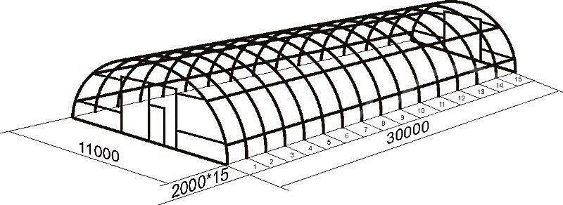 Быстросборный ангар «Фермер Коровник» 11х30 м