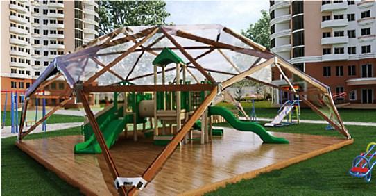 Деревянная квадросфера на детской площадке