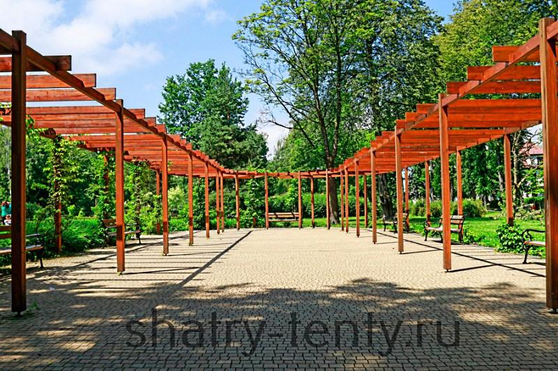 Деревянная пергола с натуральным морением в парке