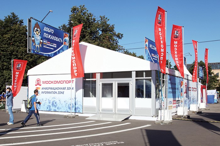 Классический двухскатный шатер-павильон для выставки