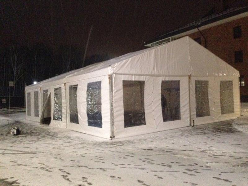 Двухскатный зимний шатер с пролетом 10м