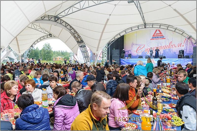 Большой арочный шатер для кейтринга на фестивале