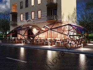 Уличное кафе под двумя квадросферами
