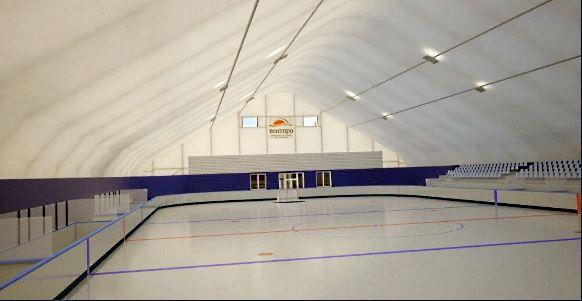 Хокейная площадка в тентовом ангаре