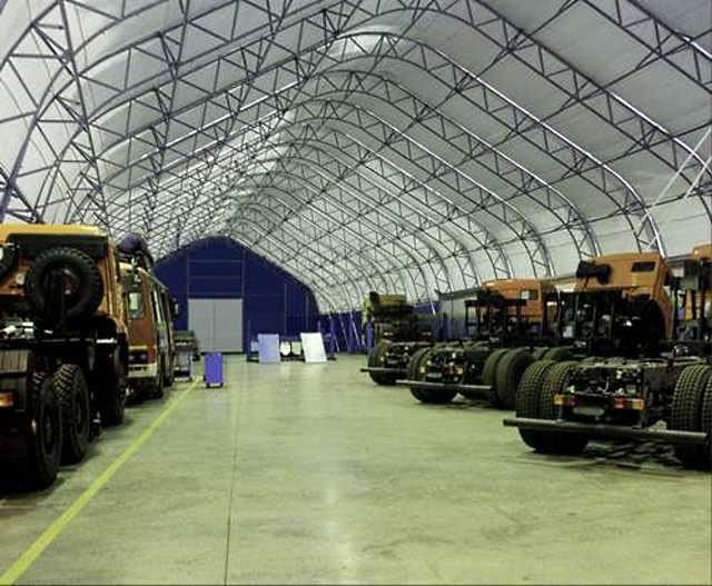 Каркасно тентовое помещение для хранения грузовых машин