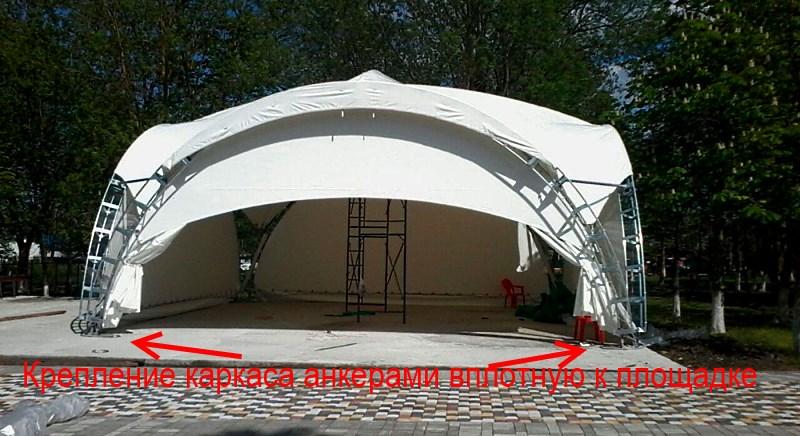 Крепление каркаса арочного шатра вплотную к бетонной площадке анкерами