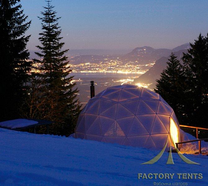 Купольный дом шатер в месте с шикарным видом
