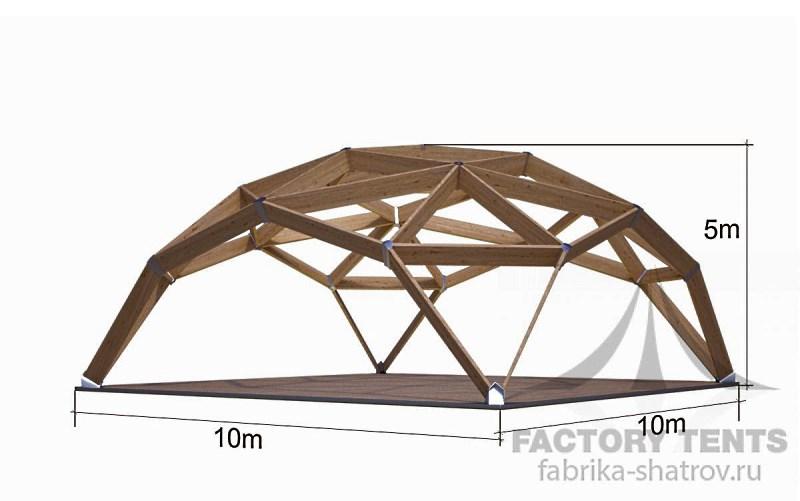 Квадросфера 10х10м на деревянном каркасе, компания Фабрика Шатров