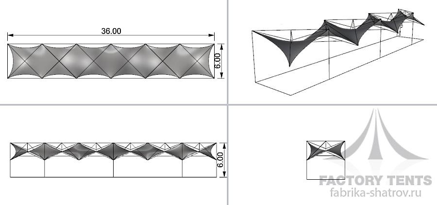 МЕМБРАННЫЙ 36*6 - 182 М² Производитель: «Фабрика шатров» (Россия)