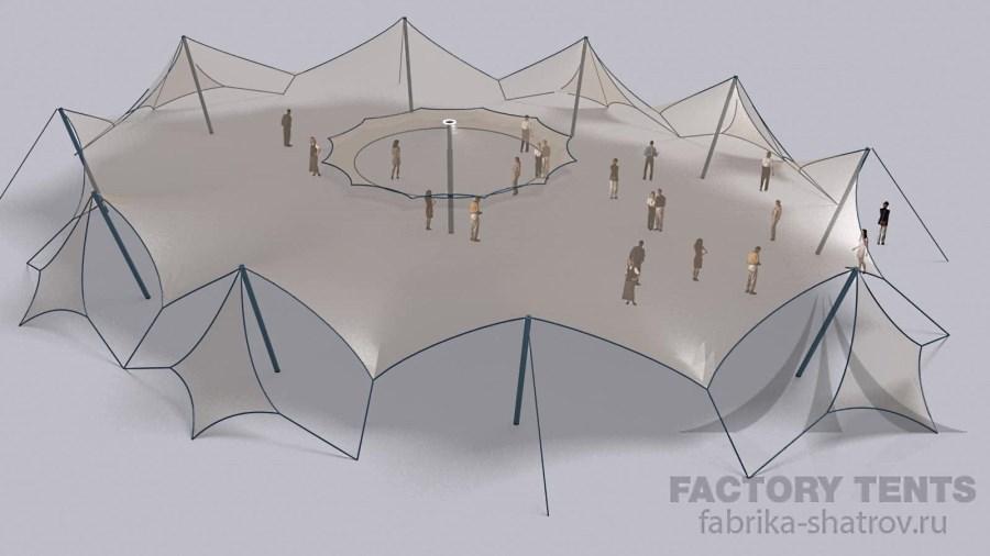 МЕМБРАННЫЙ ШАТЕР 24.8Х32.1 - 637 М² (ДОНЕЦК) Производитель: «Фабрика шатров» (Россия)